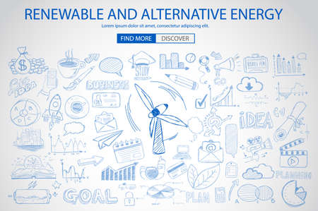 power of savings: Renewable and Alternative Energy concept with Doodle design style :power savings, optimization process, eco friendly thinking. Modern style illustration for web banners, brochure and flyers.
