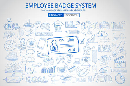 productivity system: Employee Badge System concept with Doodle design style: working hours report, presence at job, puntuality. Modern style illustration for web banners, brochure and flyers. Illustration
