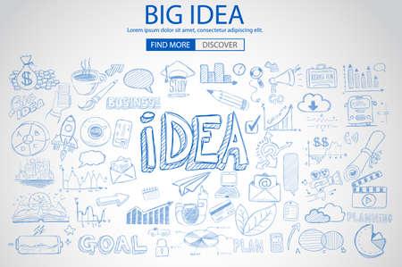 落書きデザイン スタイルと大きなアイデア コンセプト: 解決策を見つける、ブレーンストーミング、創造的な思考。モダンなスタイルの web バナー  イラスト・ベクター素材
