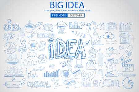 Concepto Idea con el estilo de diseño del Doodle: la búsqueda de la solución, de intercambio de ideas, el pensamiento creativo. Ilustración de estilo moderno para la web banners, folletos y volantes.