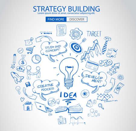 Concepto del edificio estrategia con el estilo de diseño del Doodle: la búsqueda de una solución, de intercambio de ideas, el pensamiento creativo. ilustración de estilo moderno para la web banners, folletos y volantes.
