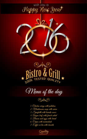 new years eve dinner: 2016 Happy New Year Restaurant Menu Template Background for Seasonal Dinner Event, Parties Flyer, Lunch Event Invitations, Xmas Cards and so on. Illustration