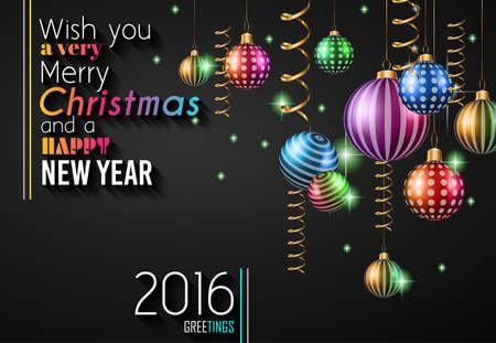 estaciones del a�o: 2016 Feliz A�o Nuevo y Feliz Navidad de fondo para las tarjetas de saludos estacionales, Partes folleto, invitaciones a eventos Cena, Navidad Tarjetas y sp sucesivamente. Vectores