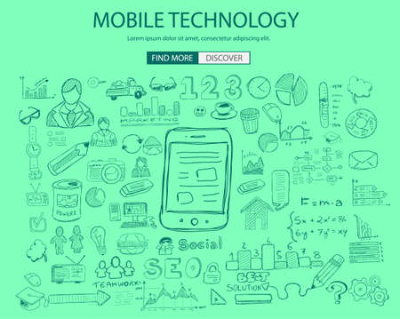 reengineering: Mobile technology concept with Doodle design style :physics solution, re-engineering, parts design.Modern style illustration for web banners, brochure and flyers.