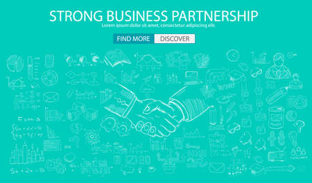 web solution: Strong Business Partnership concept wih Doodle design style :finding solution, brainstorming, creative thinking. Modern style illustration for web banners, brochure and flyers. Illustration