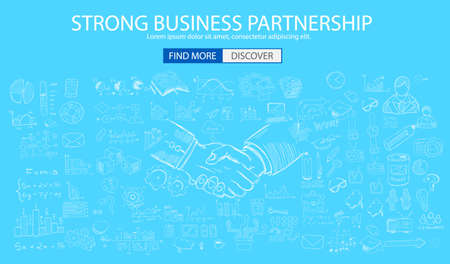 strong strategy: Strong Business Partnership concept wih Doodle design style :finding solution, brainstorming, creative thinking. Modern style illustration for web banners, brochure and flyers. Illustration
