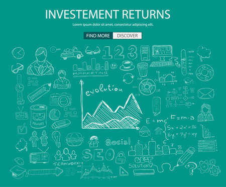 investment ideas: Investment Returns  concept with Doodle design style :teaching solution, studies, creative ideas. Modern style illustration for web banners, brochure and flyers.