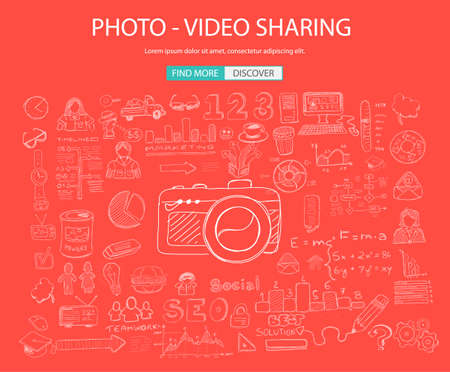 lending: Photo Video Sharing concept with Doodle design style: online solution, social media campain, creative ideas,Modern style illustration for web banners, brochure and flyers.