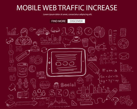web traffic: Mobile web traffic concept with Doodle design style :internet connections, web analysis, www statistics .Modern style illustration for web banners, brochure and flyers.