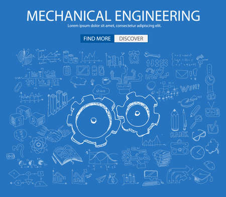 engineering design: Mechanical Engineering concept with Doodle design style :physics solution, re-engineering, parts design.Modern style illustration for web banners, brochure and flyers.