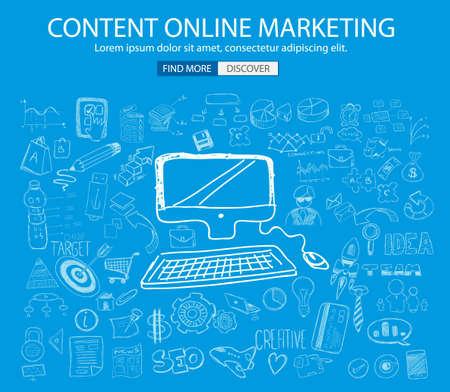 Marketing Online con estilo de diseño del Doodle: la búsqueda de la solución, de intercambio de ideas, el pensamiento creativo. Ilustración de estilo moderno para la web banners, folletos y volantes.