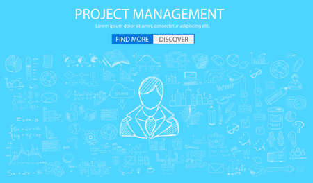 owning: Project Management concept with Doodle design style :people inteview, skill testing, clear selection. Modern style illustration for web banners, brochure and flyers. Illustration