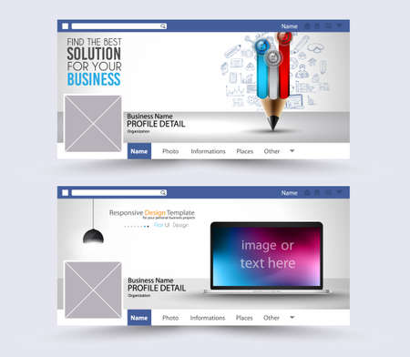 presence: Social Media Web Banner, Website Header for page. Template for  Advertising business campaign with space for your images and text. Illustration