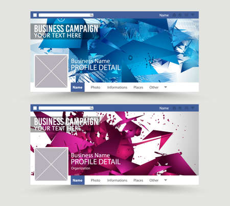 template: Social Media Web Banner, Website Header for page. Template for  Advertising business campaign with space for your images and text. Illustration