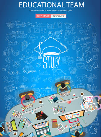 web solution: Educational and Learning concept with Doodle design style :teaching solution, studies, creative ideas. Modern style illustration for web banners, brochure and flyers.