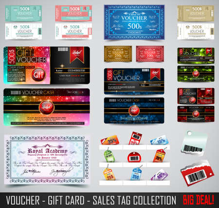 gift card: Big Collection of Voucher Gift Card layout templates for your promotional design, tickets template, printed gift cards.. Space and fields for text, front and back provided.