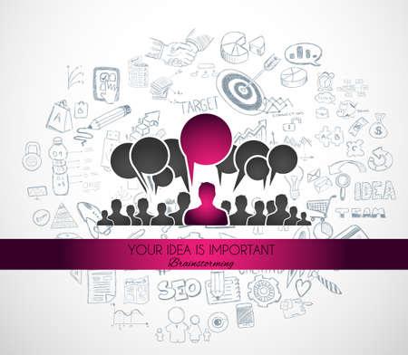 personas comunicandose: Trabajo en equipo Reunión de reflexión el concepto de comunicación de arte. Las personas que se comunican en todo el mundo con una gran cantidad de ideas y posibles soluciones