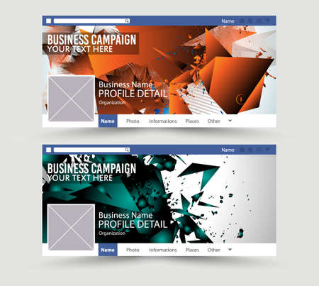 website template: Social Media Web Banner, Website Header for page. Template for  Advertising business campaign with space for your images and text. Illustration