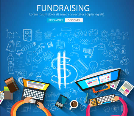 creative money: Fundraising concept with Doodle design style :finding money, financial management, creative thinking. Modern style illustration for web banners, brochure and flyers. Illustration
