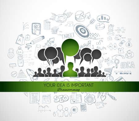 comunicação: Teamwork Brainstorming comunicação concept art. As pessoas se comunicam em todo o mundo com um monte de idéias e possíveis soluções Ilustração