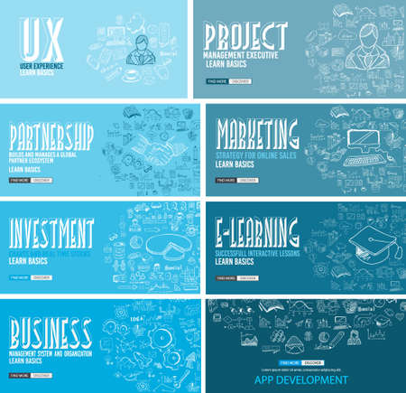 pensamiento creativo: Business Development concept background wih Doodle design style :finding solution, brainstorming, creative thinking, infographics. Modern style illustration for web banners, brochure and flyers.