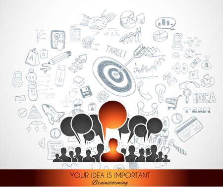 チームワーク ブレーンストーミング通信コンセプト アート。通信で多くのアイデアや可能な解決策、世界中の人々