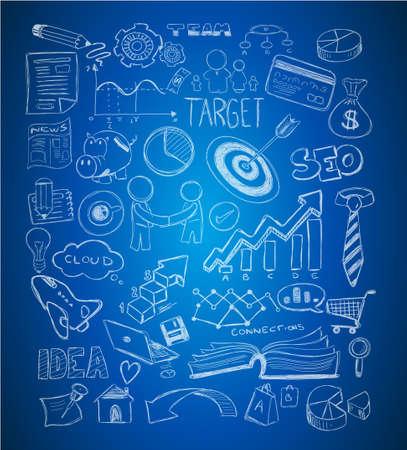 Zakelijke doodles Schets set: infographics elementen geïsoleerd, vector vormen. Het omvat veel iconen inclusief grafieken, statistieken, apparaten, laptops, wolken, concepten en ga zo maar door.