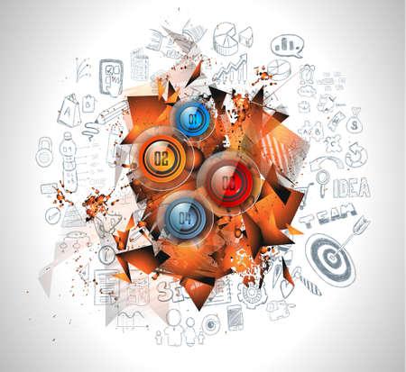 evaluacion: Limpie Plantilla Infografía Diseño de datos y análisis de la información con una serie de soluciones disponibles. Ideal para la presentación del producto, la clasificación tema, la evaluación de ideas y así sucesivamente. Vectores