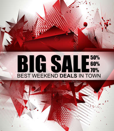 price tag: Big Sale Best Discoount in time web banner for shop sales tag, poster for advertisement, sales flyer, black friday and web promotion materials. Illustration