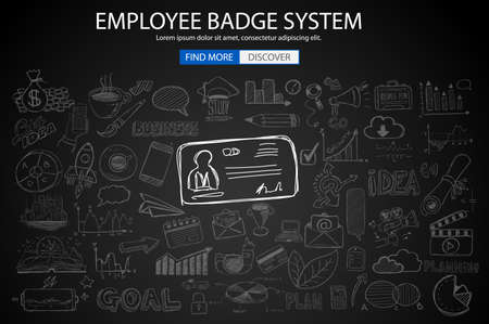 working hours: Employee Badge System concept with Doodle design style: working hours report, presence at job, puntuality. Modern style illustration for web banners, brochure and flyers. Illustration