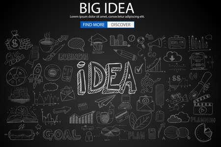 conclusion: Concepto de Idea Grande con estilo de diseño Doodle: encontrar solución, lluvia de ideas, pensamiento creativo. Ilustración del estilo moderno para las banderas, el folleto y los aviadores del Web. Vectores