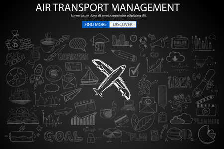 monetization: Air Transport Management Concept with Doodle design style :finding routes, monetization strategy, increase traffic. Modern style illustration for web banners, brochure and flyers.