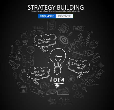 web solution: Strategy Building concept with Doodle design style :finding solution, brainstorming, creative thinking. Modern style illustration for web banners, brochure and flyers. Illustration