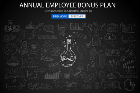 benefits: Employee Bonus Benefit Plan concept with Doodle design style online purchases, banking, money spending. Modern style illustration for web banners, brochure and flyers.