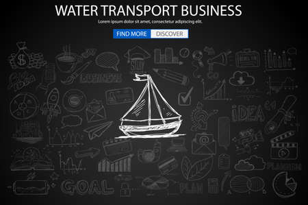 monetization: Water Transport Business Concept with Doodle design style :finding routes, monetization strategy, increase traffic. Modern style illustration for web banners, brochure and flyers.