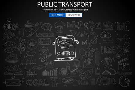 Transporte Público concepto wih Doodle estilo de diseño: las mejores rutas, los usuarios satisfacciones, el ahorro de gas. ilustración de estilo moderno para la web banners, folletos y volantes. Ilustración de vector
