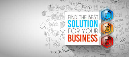 solutions: Clean Infographic Layout Template for data and information analysis with a number of solutions available. Ideal for product presentation, item ranking, ideas evaluation and so on.
