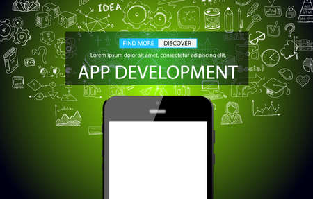 mobile app: App Development Concept Background with Doodle design style :user interfaces, UI design,mobiel devices. Modern style illustration for web banners, brochure and flyers. Illustration