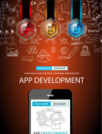 freelancing: App Development Concept Background with Doodle design style :user interfaces, UI design,mobiel devices. Modern style illustration for web banners, brochure and flyers. Illustration
