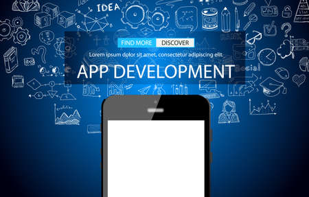 web development: App Development Concept Background with Doodle design style :user interfaces, UI design,mobiel devices. Modern style illustration for web banners, brochure and flyers. Illustration
