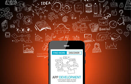App Development Concept Background with Doodle design style :user interfaces, UI design,mobiel devices. Modern style illustration for web banners, brochure and flyers. Vettoriali