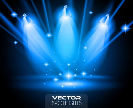 Vector Spotlights scene with different source of lights pointing to the floor or shelf. Ideal for featuring products. Lights are transparent so ready to be placed on every surface. Ilustração