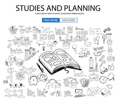 elearn: Educational and Learning concept with Doodle design style :teaching solution, studies, creative ideas. Modern style illustration for web banners, brochure and flyers.