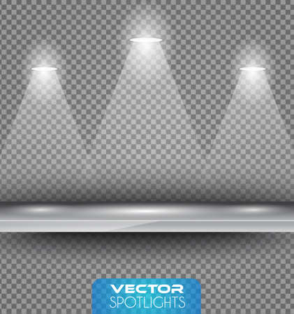 night club interior: Vector Spotlights scene with different source of lights pointing to the floor or shelf. Ideal for featuring products. Lights are transparent so ready to be placed on every surface. Illustration