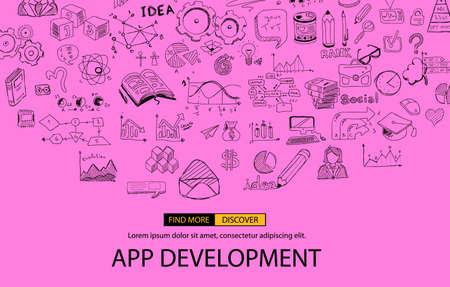 Concept de développement d'applications Contexte avec style de conception Doodle: interfaces utilisateur, conception d'interface utilisateur, périphériques mobiel. Illustration de style moderne pour les bannières web, brochure et dépliants.
