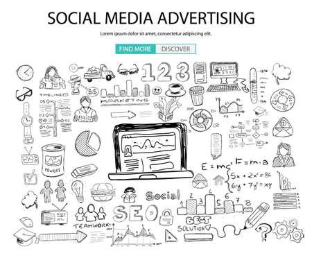 lijntekening: Social Media Reclame concept met Doodle design stijl: online oplossing, sociale media campagne, creatieve ideeën, moderne stijl illustratie voor web banners, brochure en flyers.