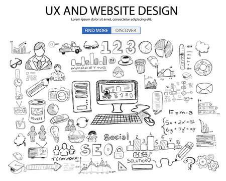 UX Website Design concept met Doodle design stijl: online oplossing, sociale media Campain, creatieve ideeën, moderne stijl illustratie voor web banners, brochure en flyers.