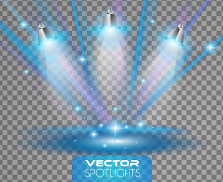 Vector Spotlights scene with different source of lights pointing to the floor or shelf. Ideal for featuring products. Lights are transparent so ready to be placed on every surface. Vettoriali