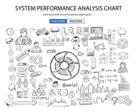 analisys: System Performance Analisys concept wih Doodle design style :finding solution, brainstorming, creative thinking. Modern style illustration for web banners, brochure and flyers.