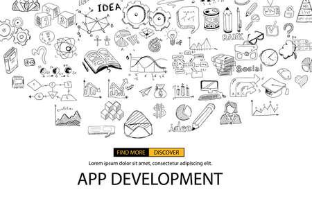 App Concept de développement de fond avec Doodle style design: interfaces utilisateur, la conception de l'interface utilisateur, les appareils mobiel. Moderne illustration de style pour bannières web, brochure et flyers.